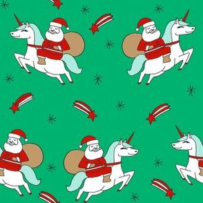 santa unicorn fabric - funny christmas fabric, unicorn christmas fabric, santa claus fabric, father christmas fabric, cute holiday design -  green