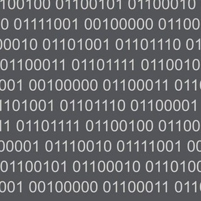 Binary code light grey on dark grey