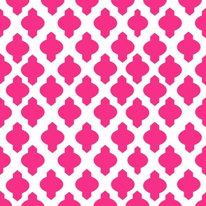 Moroccan Ogee Damask // Hot Pink