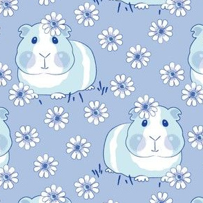 chinoiserie guinea pigs with flowers