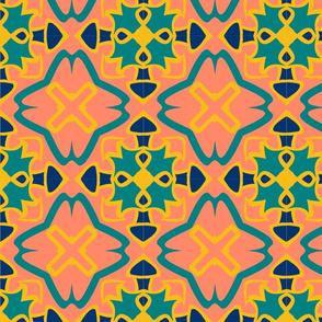 Tile - salmon turquoise blue yellow 2