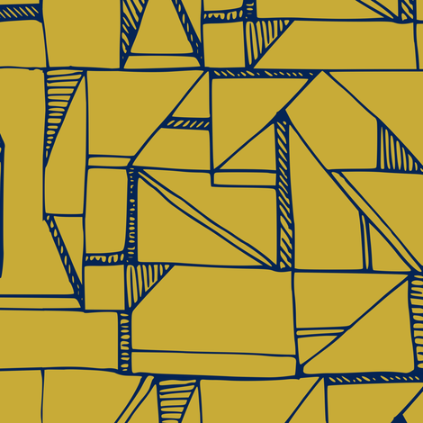 Bauhaus blue and yellow - smaller scale fabric by amy_maccready on Spoonflower - custom fabric