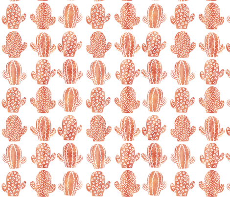 orange Watercolor cacti fabric by dualsunsdesign on Spoonflower - custom fabric