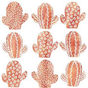 orange Watercolor cacti