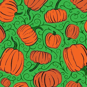 Orange + Green Pumpkin Patch with Textured Swirl Background // Fall Holiday Print Lovely for Halloween and Thanksgiving