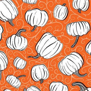 White + Gray Pumpkin Patch with Orange Textured Swirl Background // Fall Holiday Print Lovely for Halloween and Thanksgiving