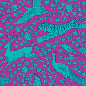 Persian Animals Floral Seamless Pattern