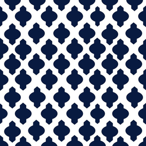 Moroccan Ogee Damask // Navy