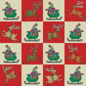 Sleighs and Reindeer Red Check