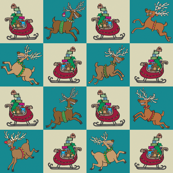 Sleighs and Reindeer Green Check