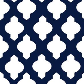 Moroccan Trellis // White on Navy