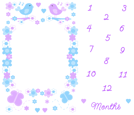Baby Girl Month Milestone Age Growth Floral Blanket fabric by decamp_studios on Spoonflower - custom fabric