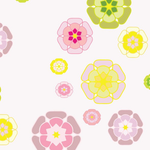 retro flowers with pink