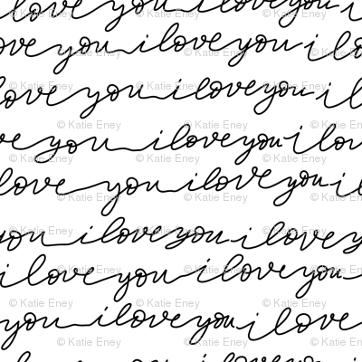 Large Scale I Love You - Black and White