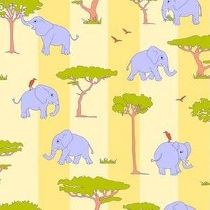 elephants in the savanna - light