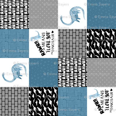 Dinosaur//Rawr means I love you//Denim - Wholecloth Cheater Quilt