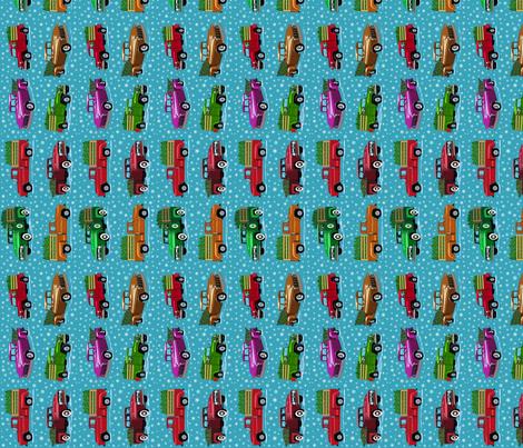 O Christmas truck tea towel fabric by leroyj on Spoonflower - custom fabric