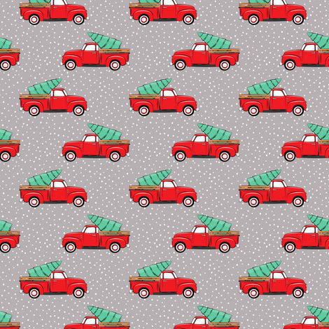 (small scale) vintage truck with tree - red on grey fabric by littlearrowdesign on Spoonflower - custom fabric
