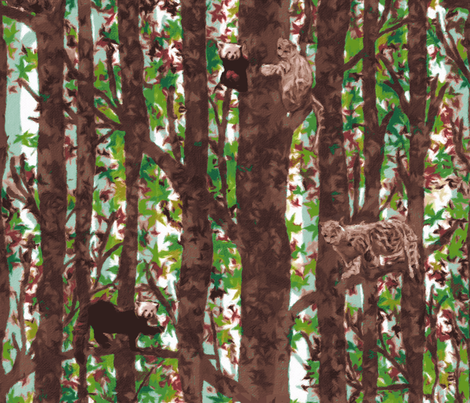Red Pandas Snow Leopards Playing in the Trees by kedoki - 24 inch fabric by kedoki on Spoonflower - custom fabric