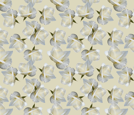 White Rosebuds on Cream fabric by ms__contrary on Spoonflower - custom fabric