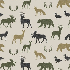 (small scale) woodland animals - C2 linen on tan
