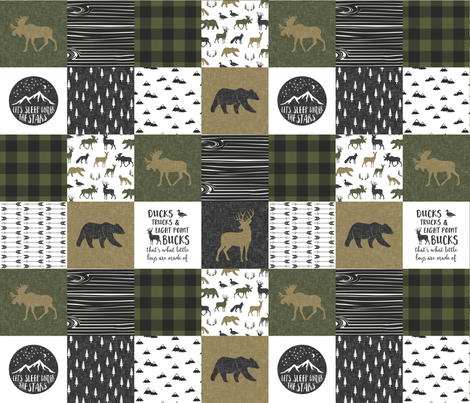Happy Camper / Ducks, Trucks, and Eight Point Bucks - C2 Woodland Patchwork fabric by littlearrowdesign on Spoonflower - custom fabric