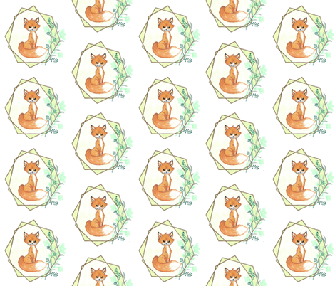 Geometric Fox Halo fabric by hejamieson on Spoonflower - custom fabric