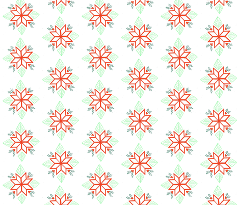 poinsetta and holly fabric by hejamieson on Spoonflower - custom fabric