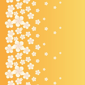Ivory White Raining Blossoms on Sunset Yellow Ombre