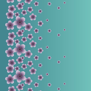 Lilac Purple Raining Blossoms on Teal Ombre