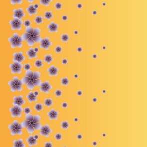 Lilac Purple Raining Blossoms on Sunset Yellow Ombre