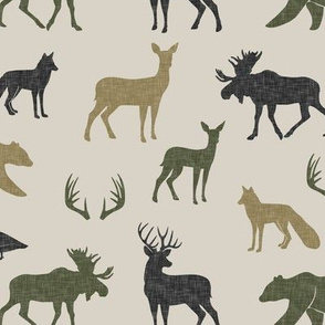 woodland animals - C2 linen on tan