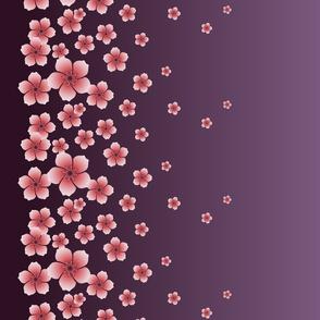 Pink Raining Blossoms on Dark Purple Ombre
