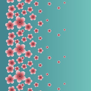 Pink Raining Blossoms on Teal Ombre