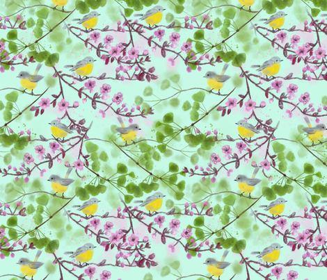 Yellow Robins in spring fabric by vicki_larner on Spoonflower - custom fabric