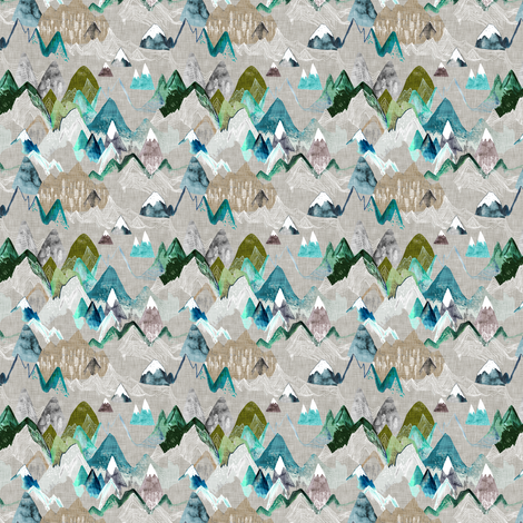 Call of the Mountains (olive) xxxsml fabric by nouveau_bohemian on Spoonflower - custom fabric