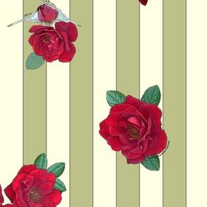 Crimson red rosebuds roses on khaki and cream vertical stripes