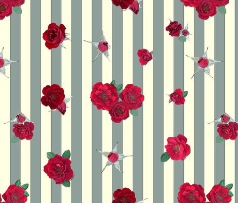 Crimson red rosebuds roses on sage and cream vertical stripes fabric by ms__contrary on Spoonflower - custom fabric