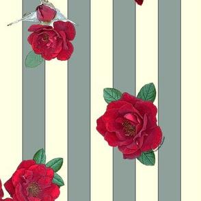 Crimson red rosebuds roses on sage and cream vertical stripes