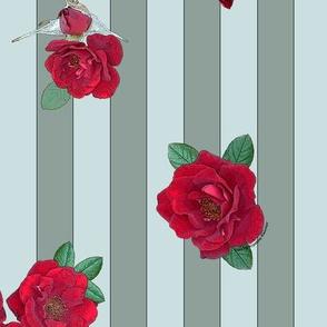 Crimson red rosebuds roses on sage-green vertical stripes