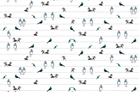 NZ Birds On A Wire (Large Scale) fabric by plumbilly on Spoonflower - custom fabric
