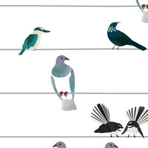 NZ Birds On A Wire (Large Scale)