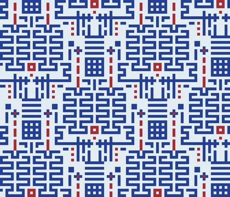 ChinoiseriePagoda CobaltBurgundy fabric by patternmutation on Spoonflower - custom fabric