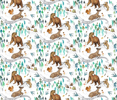 Wild Child (white) MED fabric by nouveau_bohemian on Spoonflower - custom fabric