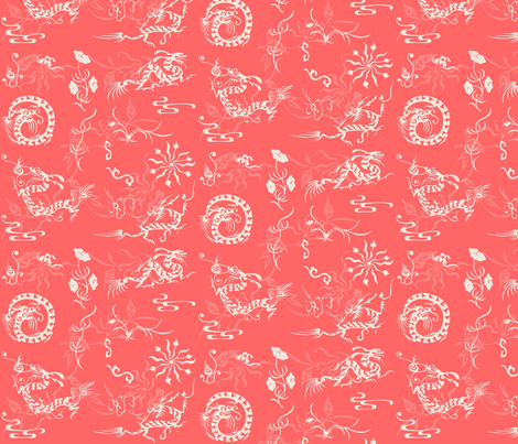 The Legend of the  Dragon and the Pearl_ Lucky Red fabric by poolofblue on Spoonflower - custom fabric
