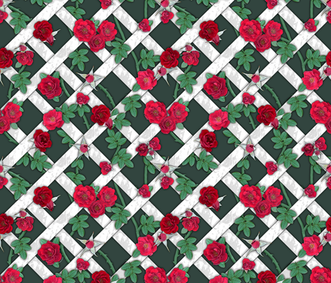 Crimson red roses on white lattice over dark sage fabric by ms__contrary on Spoonflower - custom fabric
