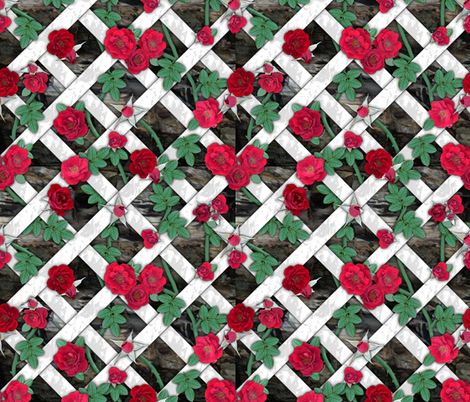 Crimson red roses on white lattice over rock fabric by ms__contrary on Spoonflower - custom fabric