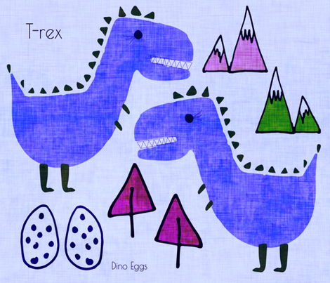 T-rex Cut and Sew text Blue fabric by bruxamagica on Spoonflower - custom fabric