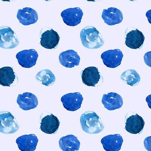 Blue watercolor polka dot pattern