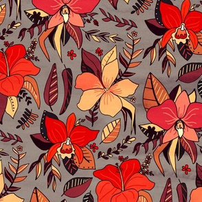 Red Tropical Floral (Small Version)
